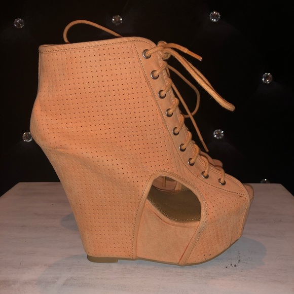Qupid Shoes - Tangerine Orange Lace Up Wedge Booties